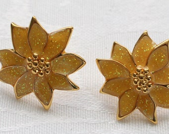 PE # 126 Vintage Gold Tone Pierced Sparkly Yellow Poinsettia Earrings