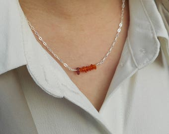 Tiny, delicate amber gemstone bar necklace in sterling silver on a dainty, hammered silver chain - modern, minimalist