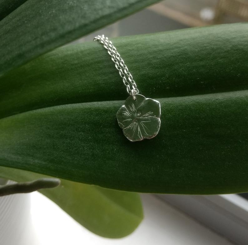 Fine Silver Geranium Pendant Floral Pendant Flower Necklace image 0