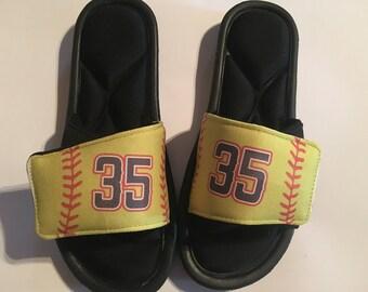Custom slide sandals, custom slides, custom sandals, softball slides, softball sandals, personalized softball accessories, softball shoes