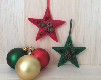 red and green christmas decoration green and red festive season green holly decorations christmas stars stars for the holidays holiday