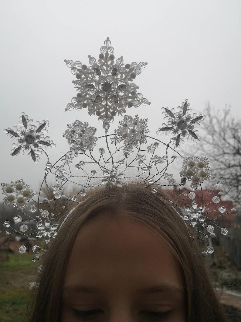 Beaded Snow Queen Snow Fairy Crown,Headpiece Beadwork White Clear Beaded Snowflake Headdress White Silver Snowflake,Winter Twig Halo