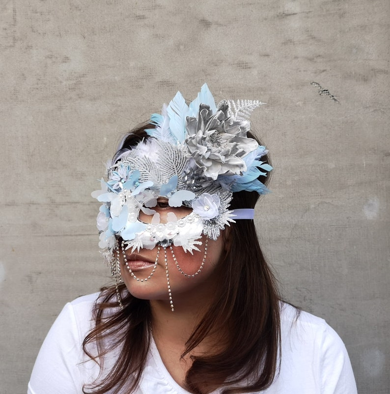 White Light Blue Silver Lace Snow Queen,Dryad,Fairy Feathered Butterfly Headdress,Winter Woodland Mask,Beaded Venetian Masquerade Ball Mask