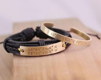 Couples Coordinates Bracelet, Latitude Longitude Bracelet, Personalized Quote & Compass- Where it all began, customized coordinate bracelet