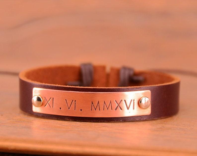 8118f1b6d828 Pulsera de número romano personalizada hombres pulsera de