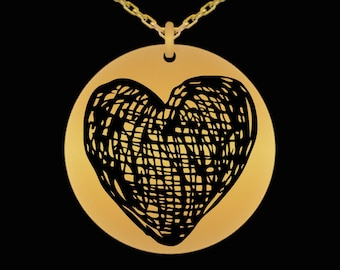 Valentine's Gift For Wife, Girlfriend, Fiance - Anniversary Gift For Her- Heart Necklace- Laser Engraved 18 Karat Gold Plated Heart Necklace