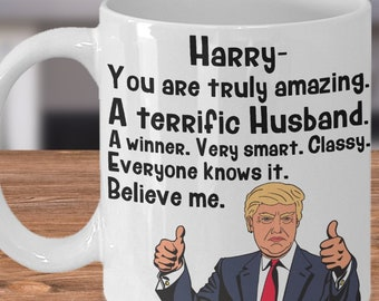 Trump HUSBAND Mug Personalized Coffee Cup Funny Valentines Day Gift For Husband Him Custom Anniversary Birthday Gifts