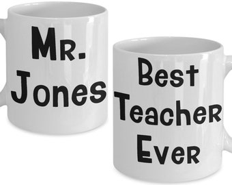 Personalized Custom Teacher Mug Gift For Male Birthday Christmas Graduation Appreciation Best Ever Coffee Cup