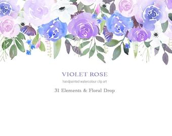 Violet Roses Floral Drop
