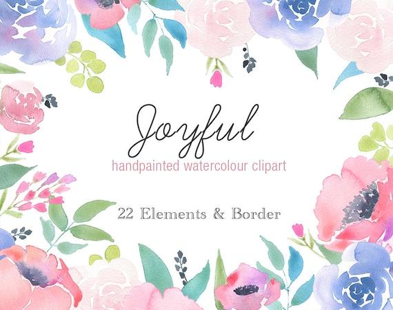 Watercolour Clipart Joyful Rose Flower Border Floral Clip