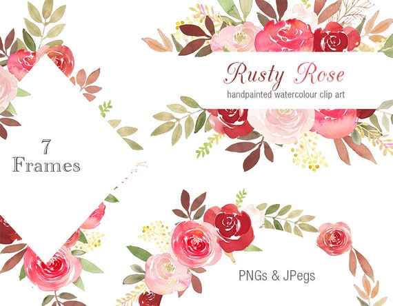 Floral Clipart Frames Rusty Rose flower border watercolor | Etsy