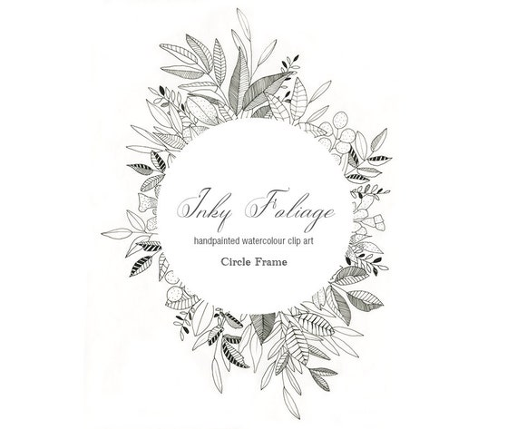 Pen And Ink Floral Frame Clipart Black And White Illustrated Etsy