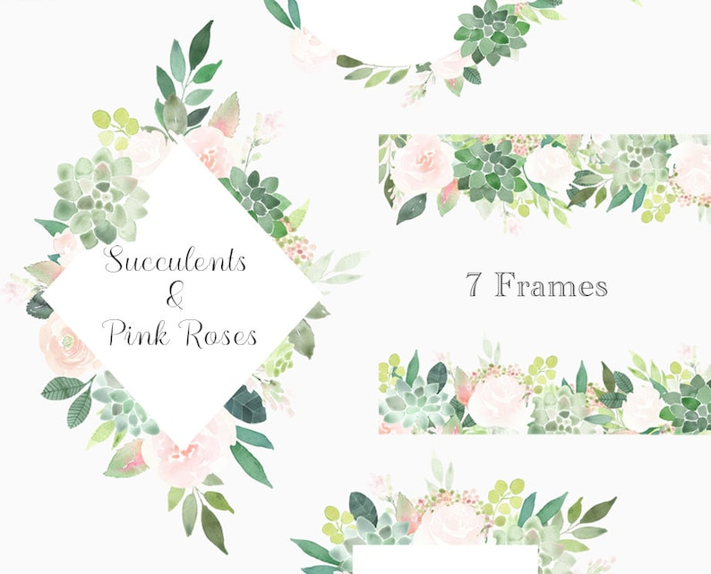 Succulents Clipart Frames Succulent Border Roses Frame Floral Watercolor Wedding Invitation Pre Made Boho Graphics Green Pink