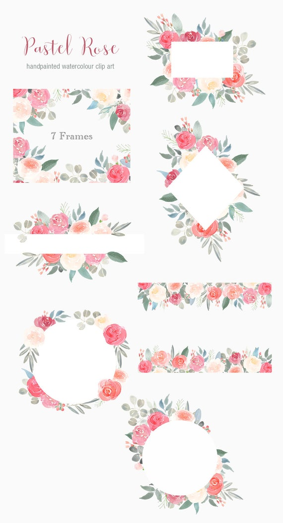 Pastel Rose Watercolor Floral Frames Roses Flower Clipart