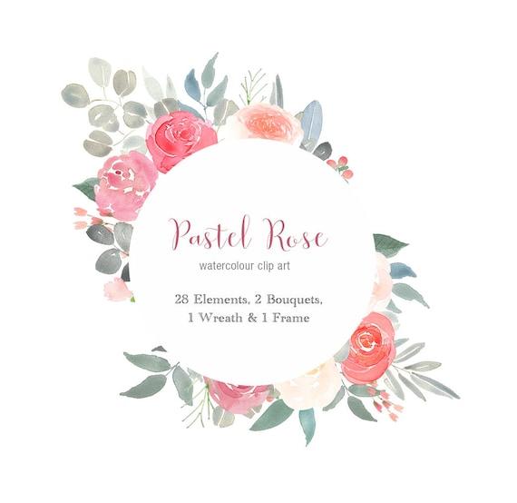 pink pastel floral clipart flower border rose clip art