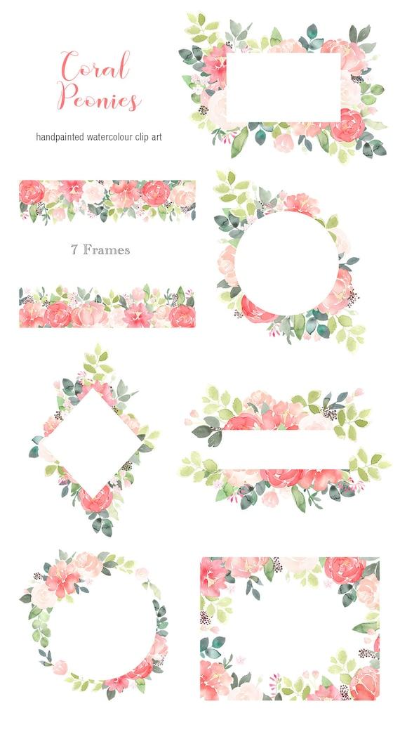 Pfingstrose Blumen Clipart Rahmen Koralle | Etsy