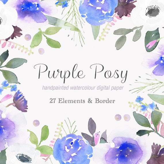 Hand Painted Floral Clip Art Purple Posy Flower Border And