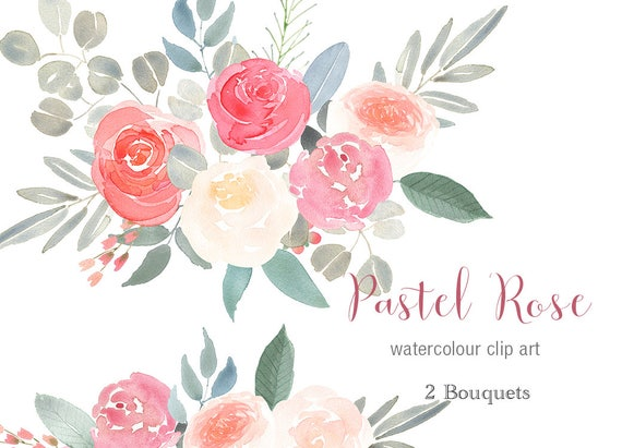 Pastel Rose Bouquets Coral Pink Flower Graphics Hand Painted Etsy