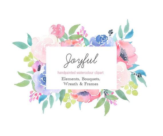 Watercolor Clip Art floral frames borders flower elements | Etsy