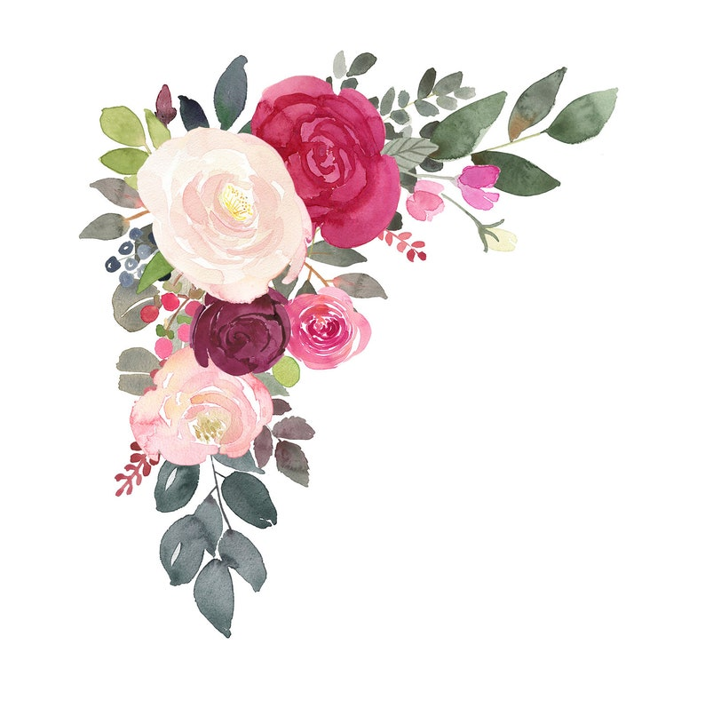 Corner Floral Bouquet Clipart burgundy and blush roses PNG files for wedding stationary and more Watercolor Clip Art Flower Arrangements