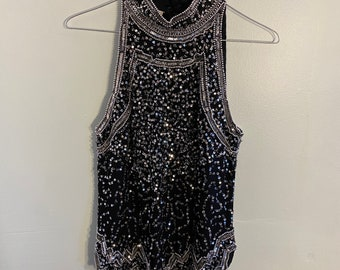 1960s Vintage Stephen O/'grady Cream Sequin Tank   60s  Sixties Sequined Squiggle Blouse  Size Small