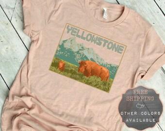 3576bb8a0 Yellowstone National Park Shirt, Vintage Inspired T-Shirt, Adventure Shirt,  Outdoor Shirt Men, 70s T Shirt, Buffalo Shirt, Retro Shirt