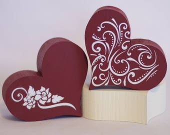 Wooden Hearts - Valentine's Day Decor - Valentine Heart - Home Accents - Valentine Gifts - Red Hearts - Pink Hearts - Gifts For Her