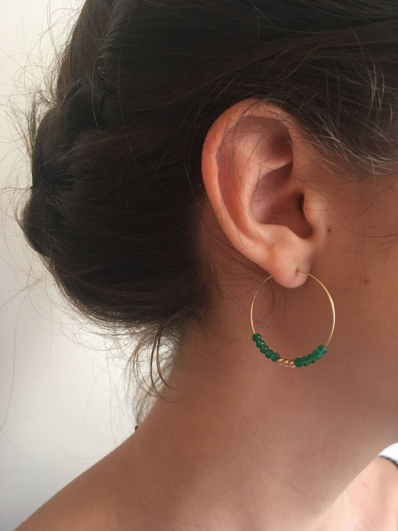sélection premium a4a6a f9f5c Earrings Creole, size L, 30mm, gold filled 14 k, delicate, Creole hoop  custom, beads round, ethnic, semi precious stone