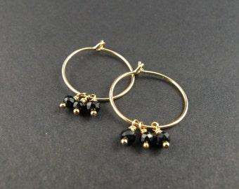 Mini hoops, hoop xs, medium, gold filled 14K gold hoop, delicate hoops, material, semi precious stones dangle hoop earrings