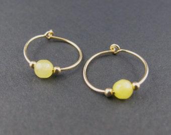 Mini hoops, hoop xs, gold filled hoop earrings hoops, delicate material, semi-precious stones