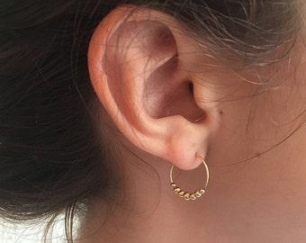 Mini hoops, hoop xs, gold filled 14 k hoop earrings hoops, delicate material, round beads, ethnic
