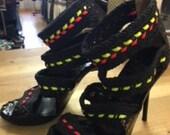 jimmy choo 4 woven straps neon heels size 39