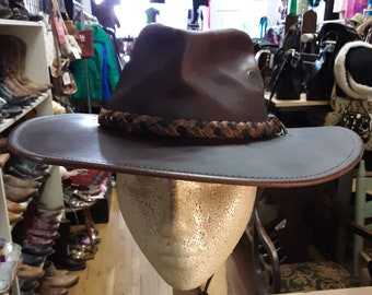 brown leather outback(aussie style)walker hat with wired brim with braided  bans size M by henschel hat company b35a5985f700