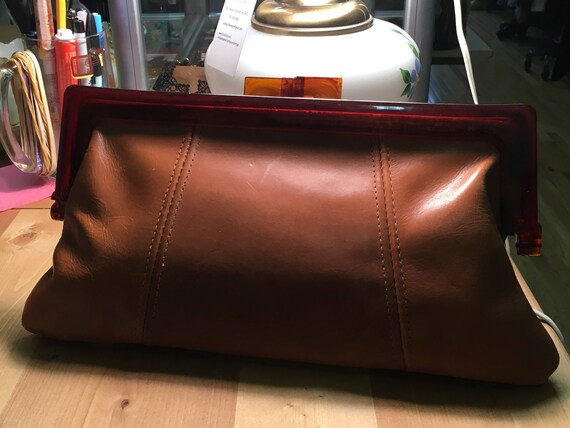 vintage 1970's Leather clutch bag with plastic cla