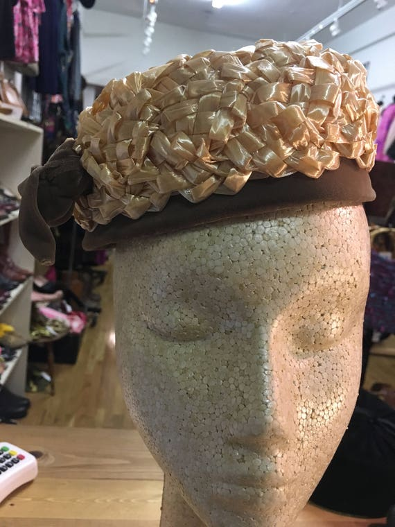 60's vintage woven straw pill box hat