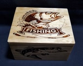 Handmade Wood Burned Fishing Gift Box, Keepsake Box, Trinket Box, Storage Box