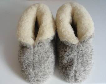 6da637a222d29d Eco Women's / Men's Merino Pure Sheep's Wool Slippers/ Sheepskin Boots -  Non Slip Suede Leather Sole