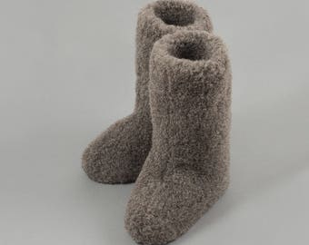 Eco Womens/ Mens Black Tall Merino Pure Sheep's Wool Slippers/ Sheepskin Boots - Non Slip Suede Leather Sole..