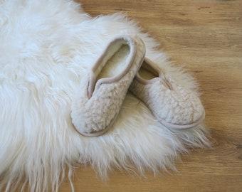 Beige Eco Slippers - Women's / Men's Merino Pure Sheeps Wool Slippers - Non Slip Sole - Christmas & Birthday Gift - Mother's Day