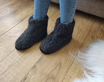 Black Pure Sheep's Wool Slippers - Eco Women's / Men's Merino Sheepskin Moccasins - Non Slip Sole - Christmas Sale - Birthday Gift