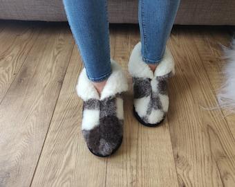 Merino Black and White Sheep's Wool Boots / Sheepskin Moccasins - Women's / Men's Slippers - Non Slip Sole - Christmas Sale - Birthday Gift