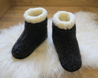 Black Eco Womens/ Mens Merino Pure Sheep's Wool Slippers/ Sheepskin Slippers - Non Slip Suede Leather Sole - Christmas & Birthday Gift