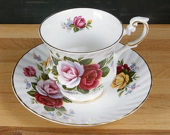 Rosina-Queens Footed Tea Cup and Saucer Set in Centenary Year Pattern - Multi-Colored Rose Design
