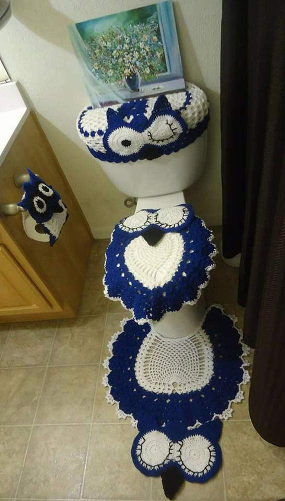 Tremendous Crochet Owl Bathroom Set Owl Bathroom Set Owl Bathroom Decor Toilet Set Cover Tank Cover Lid Cover Space Rug Tissue Paper Holder Dailytribune Chair Design For Home Dailytribuneorg
