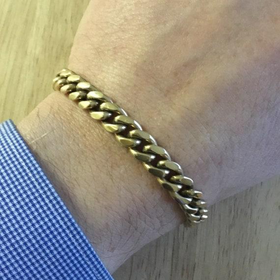 Heavy gold curb link bracelet,14k gold bracelet,ge