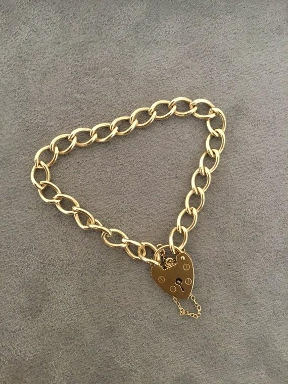 Vintage gold charm bracelet, curb link bracelet, h