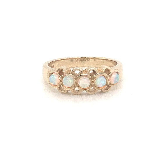 Vintage opal dress ring, opal eternity ring, large