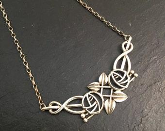 Statement pendant, floral pendant, silver pendant, Sterling silver pendant, antique pendant, unique pendant