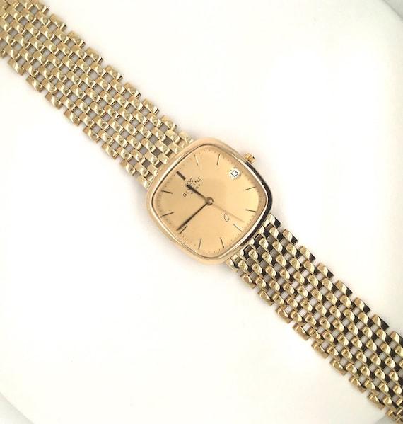 Gold Swiss wrist watch, vintage gold watch, Glycin