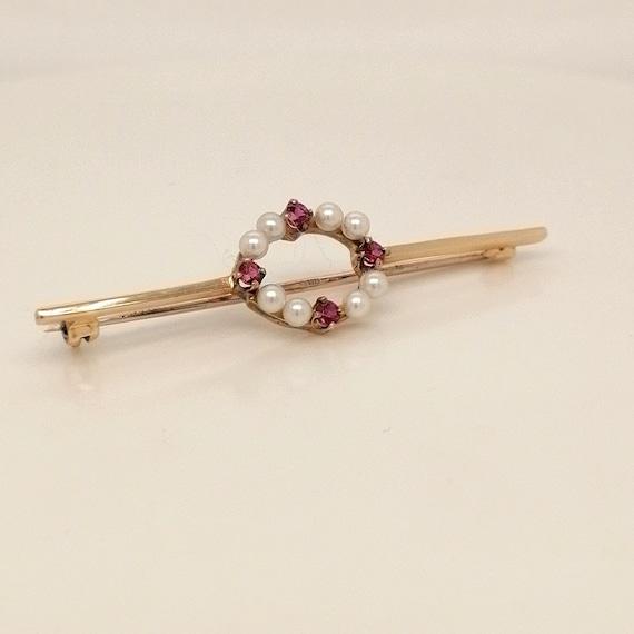 Vintage Ruby and seed pearl brooch, ruby brooch, s